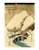 Snowy Landscape Print van Ando Hiroshige