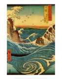 Stroomversnelling bij Navaro, Japanse stijl, ca.1855 Poster van Ando Hiroshige