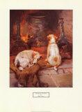 Bien au chaud près de la cheminée Affiches par Philip Eustace Stretton