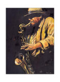 Saxophonist Prints by Hazel Soan