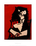 Jacqueline a Mantille Sur Fond Rouge Posters van Pablo Picasso