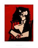 Jacqueline con mantella su fondo rosso Stampe di Pablo Picasso