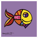 Swimmingly Purple Poster by Romero Britto