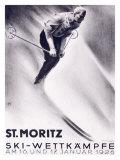 St. Moritz, Ski Impression giclée par Carl Moos