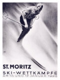 St. Moritz, Ski Reproduction proc&#233;d&#233; gicl&#233;e