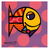 Striped Fish Print by Romero Britto