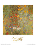 Jardim com girassóis Posters por Gustav Klimt