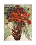 Vase with Daisies and Poppies Print by Vincent van Gogh