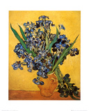 Vase of Irises Against a Yellow Background, c.1890 Print by Vincent van Gogh
