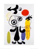 Figur Gegen Rote Sonne II, ca. 1950 Kunstdrucke von Joan Miró