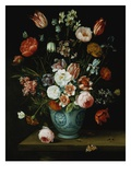 Flowers in a Chinese Transitional Blue and White Jardiniere, with Moths and Other Insects on a Ledg Giclee Print by Jan van Kessel