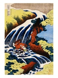 Yoshino Waterfall: Yoshitsune Washing His Horse, from the Series A Journey to the Waterfalls of All Giclee Print by Katsushika Hokusai