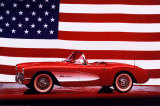 Corvette, 1957 with U.S. Flag Poster