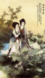 Ladies with Lotus Flowers Prints