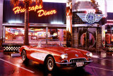 Corvette, 1958, mit amerikanischem Restaurant Poster
