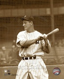 Lou Gehrig posed with bat looking to his right. Photo