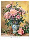 Jarrón con peonías y campanas azules Láminas por Albert Williams