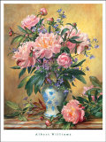 Vase of Peonies and Canterbury Bells Posters by Albert Williams