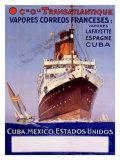 Transatlantique, Vapores Correos Franceses Giclee Print by Albert Sebille