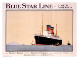 Blue Star Line Giclee Print by Norman Wilkinson