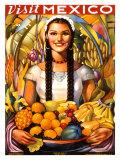 Voyagez au Mexique - Affiche de voyage vintage, 1939 Impression giclée
