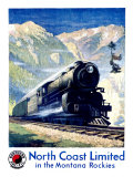 North Coast Limited Railroad, Montana Rockies Giclee Print by  Krollmann