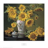 Sunflowers in a Chinese Vase Art by Evan Wilson