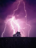 Lightning Behind a Farmhouse Photographic Print by Craig Aurness