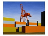 Containers with Crane Giclee Print by Mary Iverson