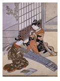 Playing the Koto Giclee Print by Suzuki Harunobu