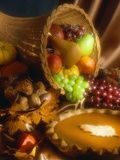 Basket of Fruit and Pumpkin Pie Photographic Print by Tracey Thompson