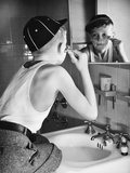 Boy Shaving at Mirror Photographic Print by Philip Gendreau
