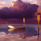 Cumulus Cloud, Rowboat, and Paddles Photographic Print by Colin Anderson