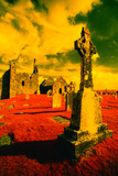 Stone Crosses and Ruins in a Bizarre Landscape Photographic Print by Richard Cummins