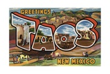 Greetings from Taos, New Mexico Postcard Giclee Print