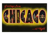 Greetings from Chicago at Night Giclee Print by  Lake County Museum