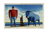 Paul Bunyan with Babe, the Blue Ox Giclee Print