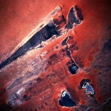 Low-Earth-Orbit View of Lakes in Mali Fotografisk tryk