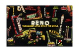 Montage of Neon Signs in Reno Giclee Print