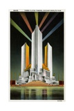 Three Fluted Towers at Chicago World's Fair Postcard Giclee Print