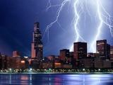 Thunderstorm over Chicago Lámina fotográfica por Ressmeyer, Roger