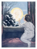Santa Claus Moon Giclee Print by Katherine R. Wireman