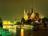 Cathedral of Notre Dame Illuminated at Night Photographie par Mark Karrass