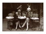 Op terras met koffie en sigaret, Parijs 1925 Posters