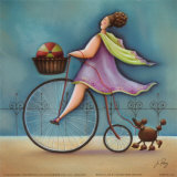 Bicycle Lady II Prints by Jo Parry