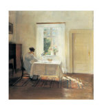 Woman Seated at a Table by a Window Art by Carl Holsoe