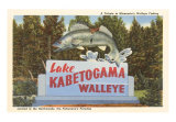 Sign for Lake Kabetogama, Walleye, Minnesota, Art Print