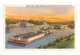 Barge Fleet, Mississippi River, Minnesota, Art Print
