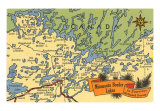 Map of Minnesota Border Lakes Art Print