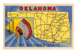 Oklahoma, The Sooner State, Map Art Print